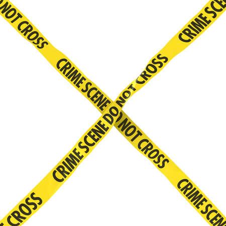 Crime Scene Do Not Cross Barrier Tape Yellow and Black Cross Isolated on White Background 3D Illustration