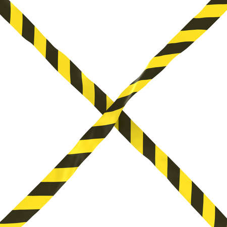 cordon: Yellow and Black Striped Barrier Tape Cross Isolated on White Background 3D Illustration