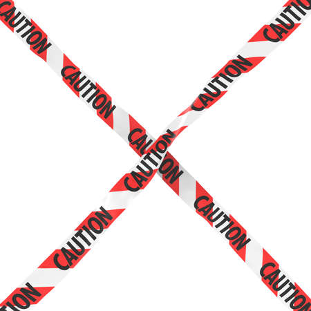 cordon: Caution Red and White Striped Barrier Tape Cross Isolated on White Background 3D Illustration