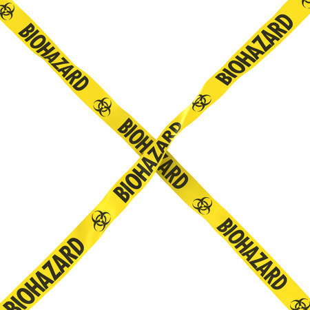 cordon: Biohazard Barrier Tape Yellow and Black Cross Isolated on White Background 3D Illustration