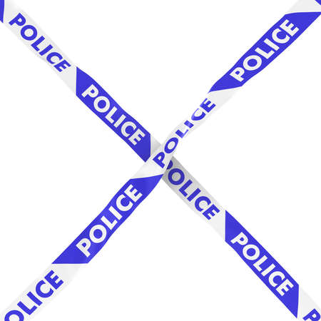 cordon: Police Barrier Tape Blue and White Cross Isolated on White Background 3D Illustration Stock Photo