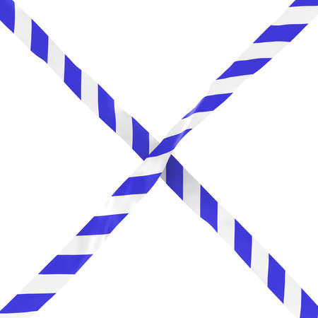 Blue and White Striped Barrier Tape Cross Isolated on White Background 3D Illustration