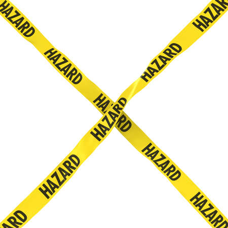 cordon: Hazard Barrier Tape Yellow and Black Cross Isolated on White Background 3D Illustration