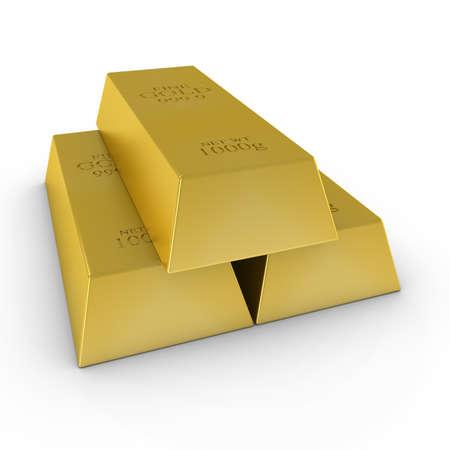 Stack of Gold Bars on White Background 3D Illustration