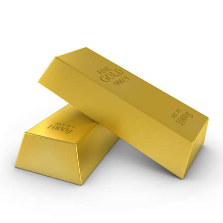 Gold Bars on White Background 3D Illustration