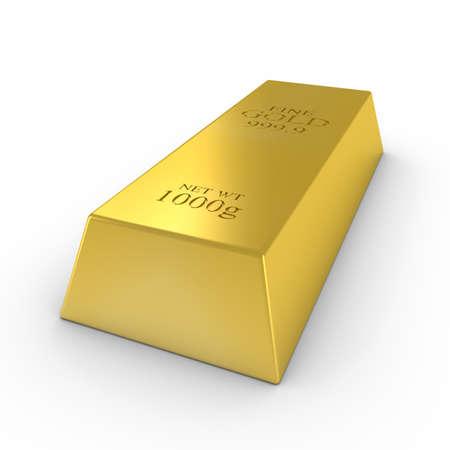 Gold Bar on White Background 3D Illustration