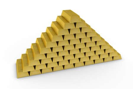 Large Stack of Gold Bars on White Background 3D Illustration