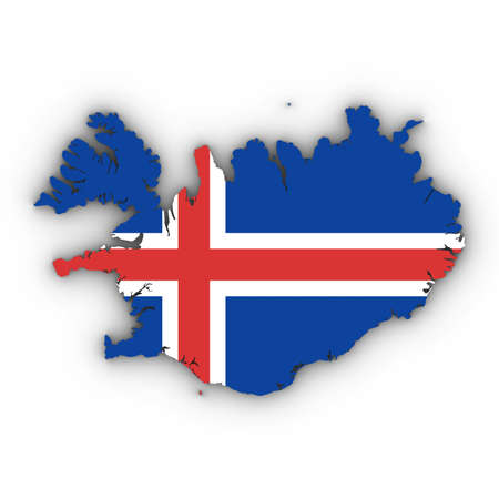 dimensional: Iceland Map Outline with Icelandic Flag on White with Shadows 3D Illustration Stock Photo