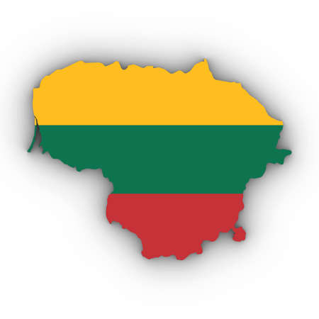 Lithuania Map Outline with Lithuanian Flag on White with Shadows 3D Illustration