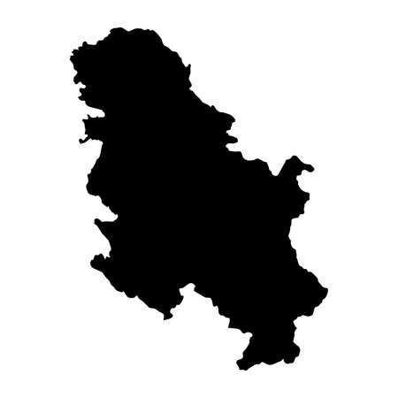 Serbia Black Silhouette Map Outline Isolated on White 3D Illustration