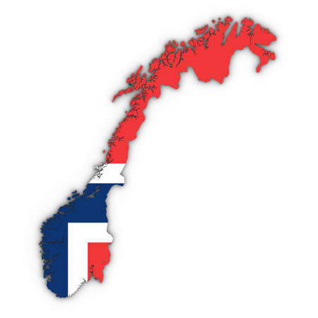 Norway Map Outline with Norwegian Flag on White with Shadows 3D Illustration Stock Photo