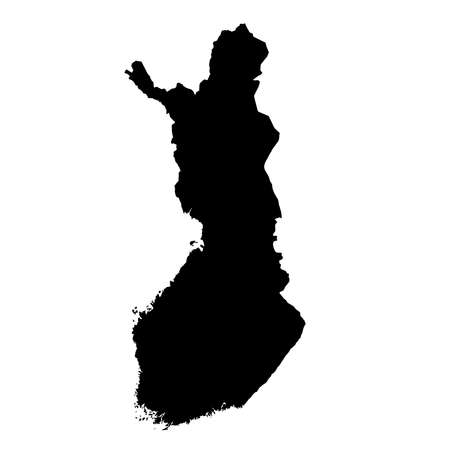 Finland Black Silhouette Map Outline Isolated on White 3D Illustration