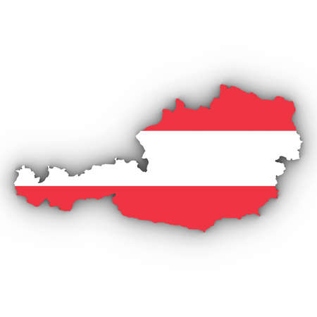 Austria Map Outline with Austrian Flag on White with Shadows 3D Illustration Imagens