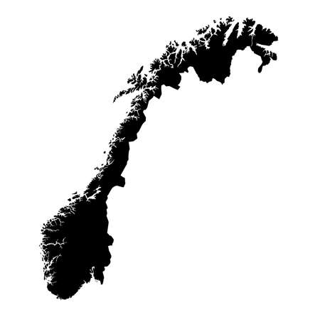 Norway Black Silhouette Map Outline Isolated on White 3D Illustration Stock Photo