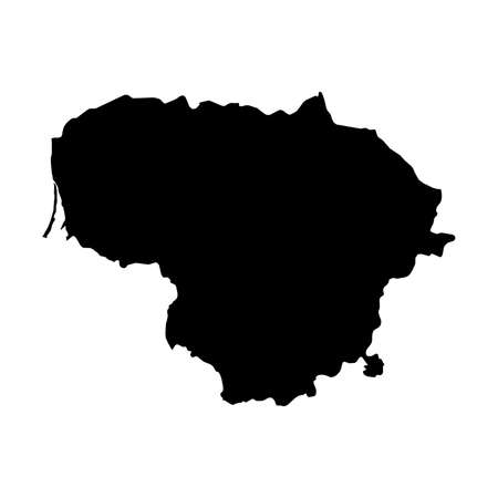 Lithuania Black Silhouette Map Outline Isolated on White 3D Illustration