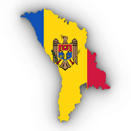 Moldova Map Outline with Moldovan Flag on White with Shadows 3D Illustration Stock Photo