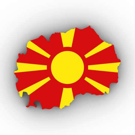 Macedonië Kaartoverzicht met Macedonische Vlag op Wit met 3D Illustratie Schaduwen Stockfoto