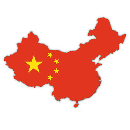 China Map Outline with Chinese Flag on White with Shadows 3D Illustration