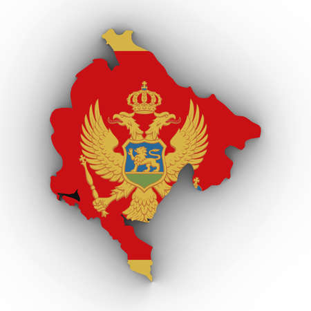 Montenegro Map Outline with Montenegrin Flag on White with Shadows 3D Illustration Stock Photo