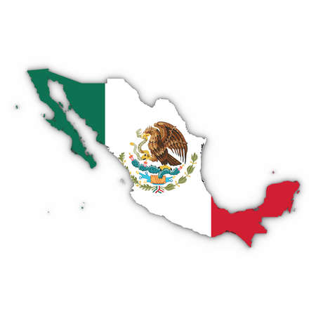 Mexico Map Outline with Mexican Flag on White with Shadows 3D Illustration Stock Photo