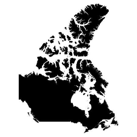 Canada Black Silhouette Map Outline Isolated on White 3D Illustration Stok Fotoğraf