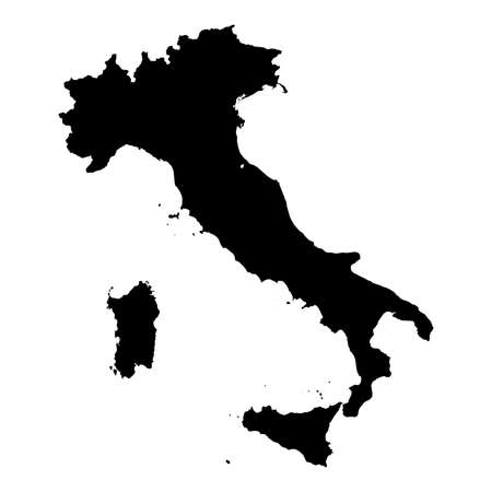 Italy Black Silhouette Map Outline Isolated on White 3D Illustration