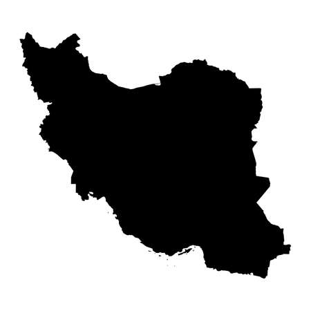 Iran Black Silhouette Map Outline Isolated on White 3D Illustration
