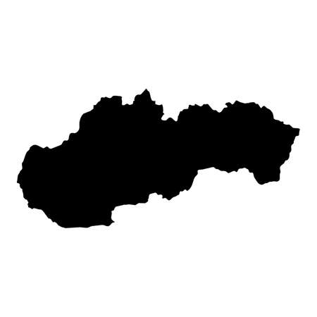 Slovakia Black Silhouette Map Outline Isolated on White 3D Illustration Imagens