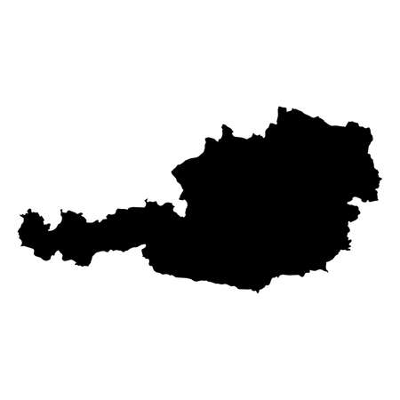 Austria Black Silhouette Map Outline Isolated on White 3D Illustration Stok Fotoğraf
