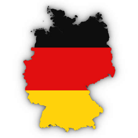 Germany Map Outline with German Flag on White with Shadows 3D Illustration