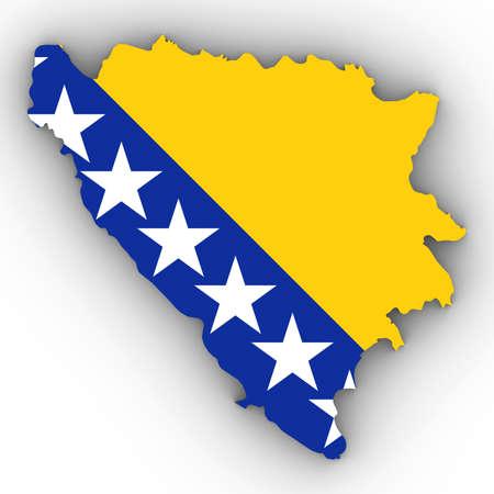 Bosnië-Herzegovina Kaartoverzicht met Bosnische Herzegovinian Vlag op Wit met 3D Illustratie Schaduwen