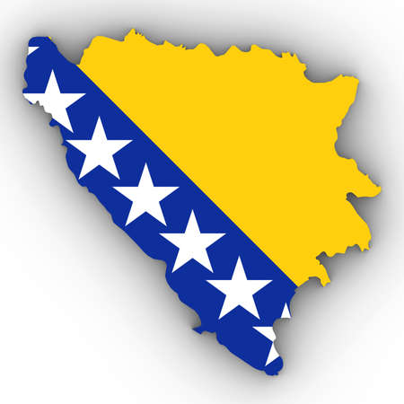 Bosnia and Herzegovina Map Outline with Bosnian Herzegovinian Flag on White with Shadows 3D Illustration