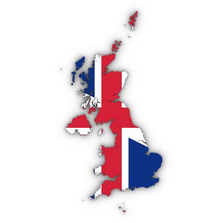 Verenigd Koninkrijk kaartoverzicht met Britse vlag op wit met schaduwen 3D illustratie