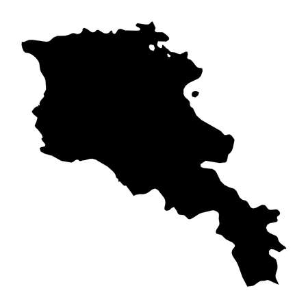 Armenia Black Silhouette Map Outline Isolated on White 3D Illustration