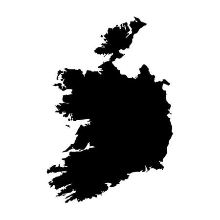 Ireland Black Silhouette Map Outline Isolated on White 3D Illustration
