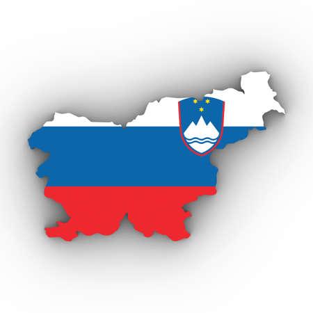 슬로베니아지도 개요 그림자와 화이트 3D 일러스트 슬로베니아어 플래그 스톡 콘텐츠