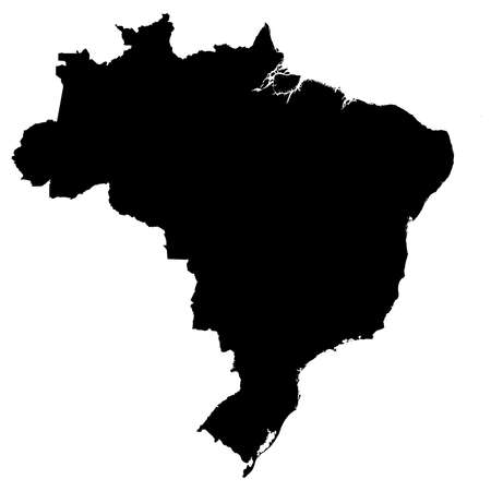 Brazil Black Silhouette Map Outline Isolated on White 3D Illustration
