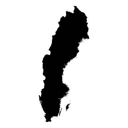 Sweden Black Silhouette Map Outline Isolated on White 3D Illustration
