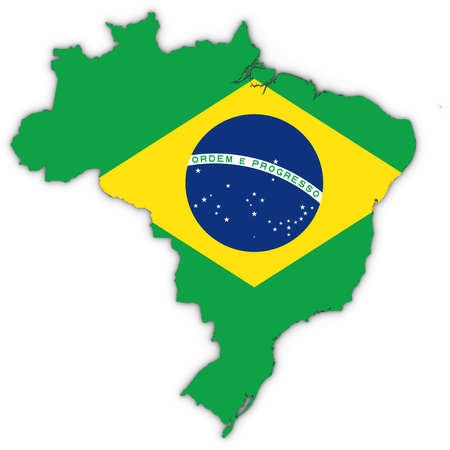 Brazil Map Outline with Brazilian Flag on White with Shadows 3D Illustration Stock Photo