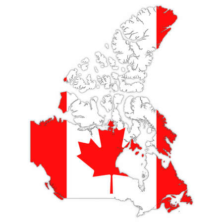 Canada Map Outline with Canadian Flag on White with Shadows 3D Illustration