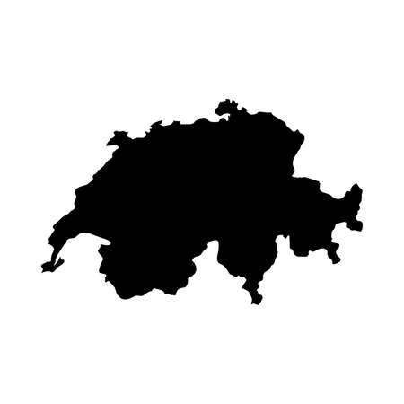 Switzerland Black Silhouette Map Outline Isolated on White 3D Illustration Stock Photo