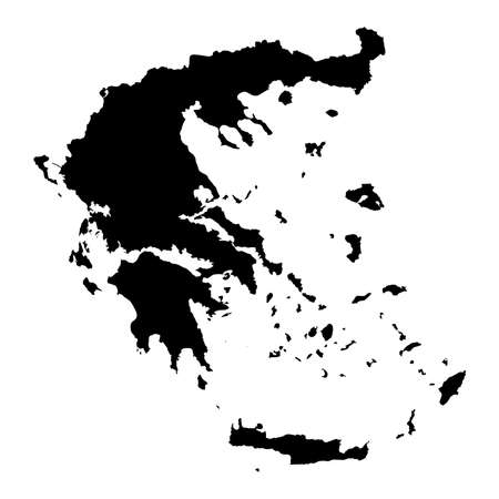 Greece Black Silhouette Map Outline Isolated on White 3D Illustration Stock Photo