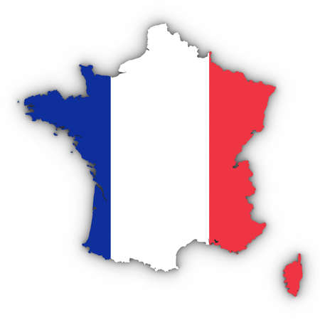 France Map Outline with French Flag on White with Shadows 3D Illustration