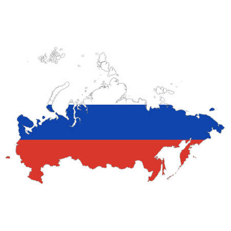 Russia Map Outline with Russian Flag on White with Shadows 3D Illustration