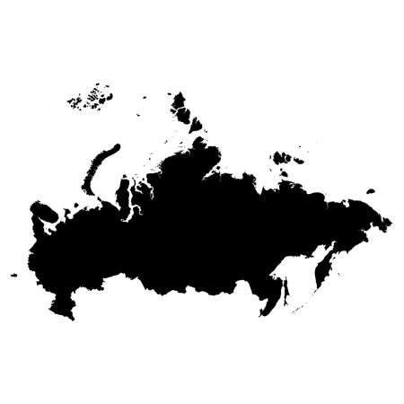 Russia Black Silhouette Map Outline Isolated on White 3D Illustration Stock Photo
