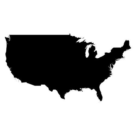 United States Black Silhouette Map Outline Isolated on White 3D Illustration