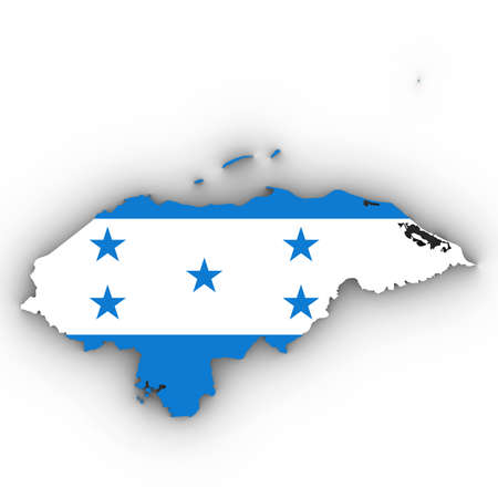 Honduras Map Outline with Honduran Flag on White with Shadows 3D Illustration