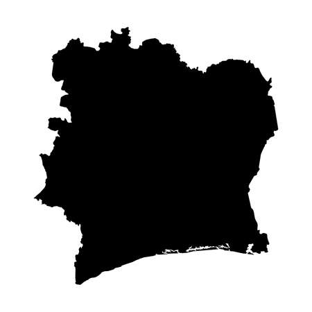 Cote dIvoire Black Silhouette Map Outline Isolated on White 3D Illustration Imagens