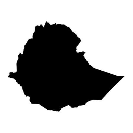 Ethiopia Black Silhouette Map Outline Isolated on White 3D Illustration Imagens