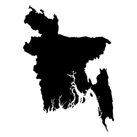 Bangladesh Black Silhouette Map Outline Isolated on White 3D Illustration